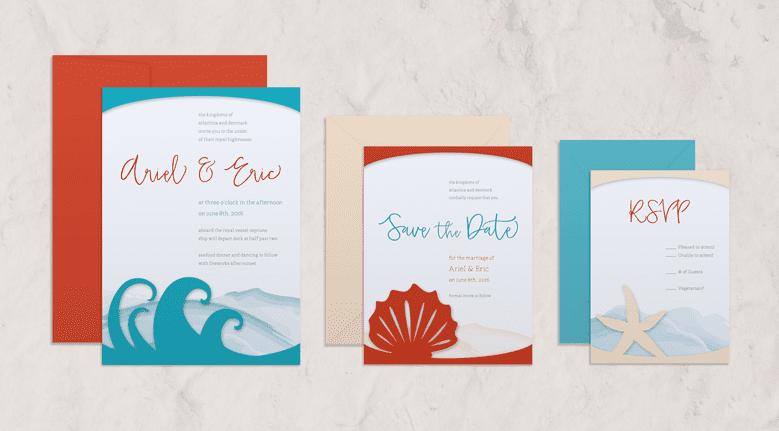 Storybook Romance: Ariel & Eric - digital mockups